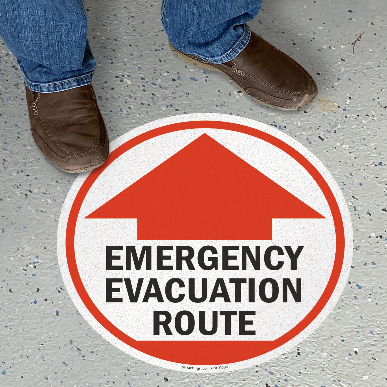 Adhesive Vinyl Floor Signs Emergency Evacuation Route