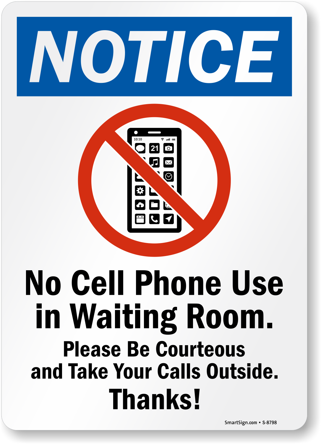 No Cell Phone Use In Waiting Room Sign Be Courteous Sign