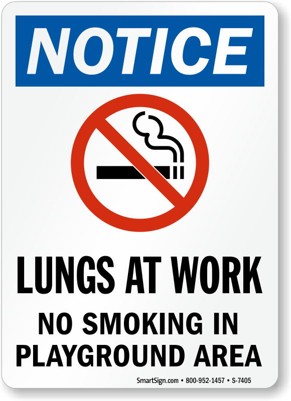 Notice No Smoking In Playground Area Sign Amp Playground