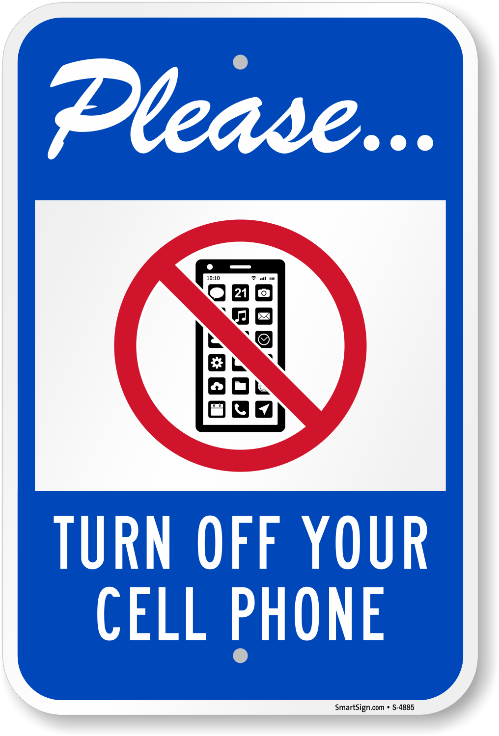 New Please Turn Off Cell Phone Signs, No Cell Phone Signs, SKU: S-4885 DP18