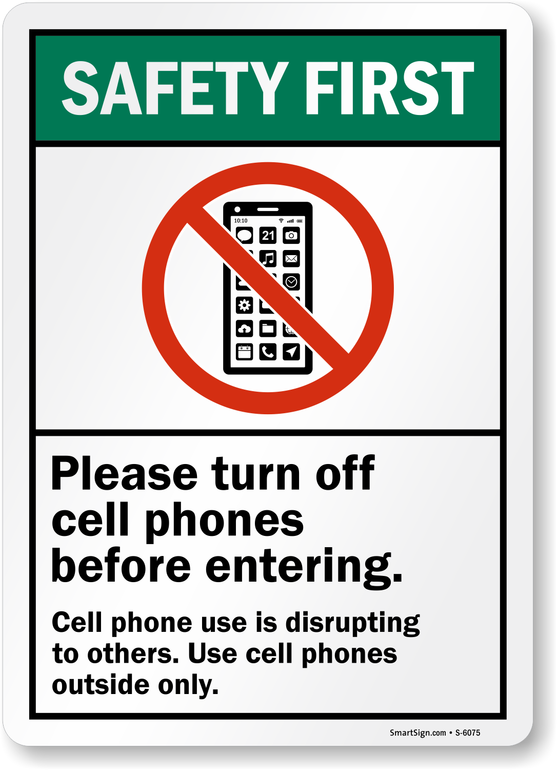 Beautiful Turn Off Cell Phone Signs | SmartSign ZG66