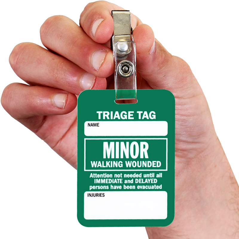 Minor Walking Wounded Triage Tag Ships Free Sku Bd 0515
