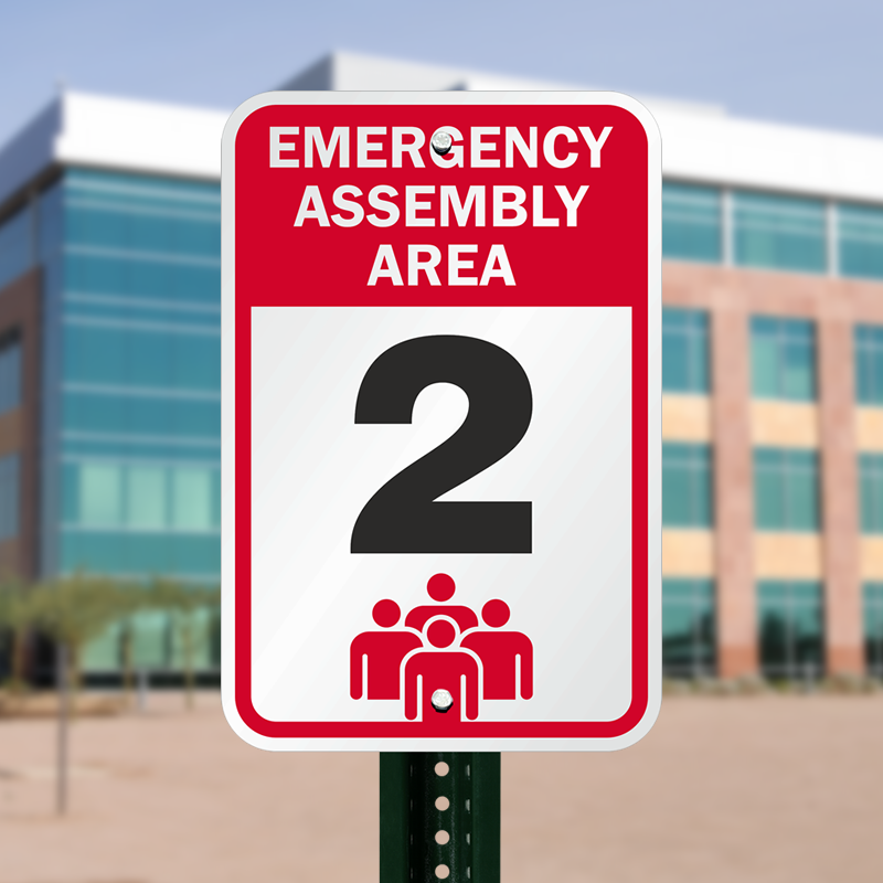 18 In X 12 In Emergency Assembly Area 2 Sign Sku K 6949 2