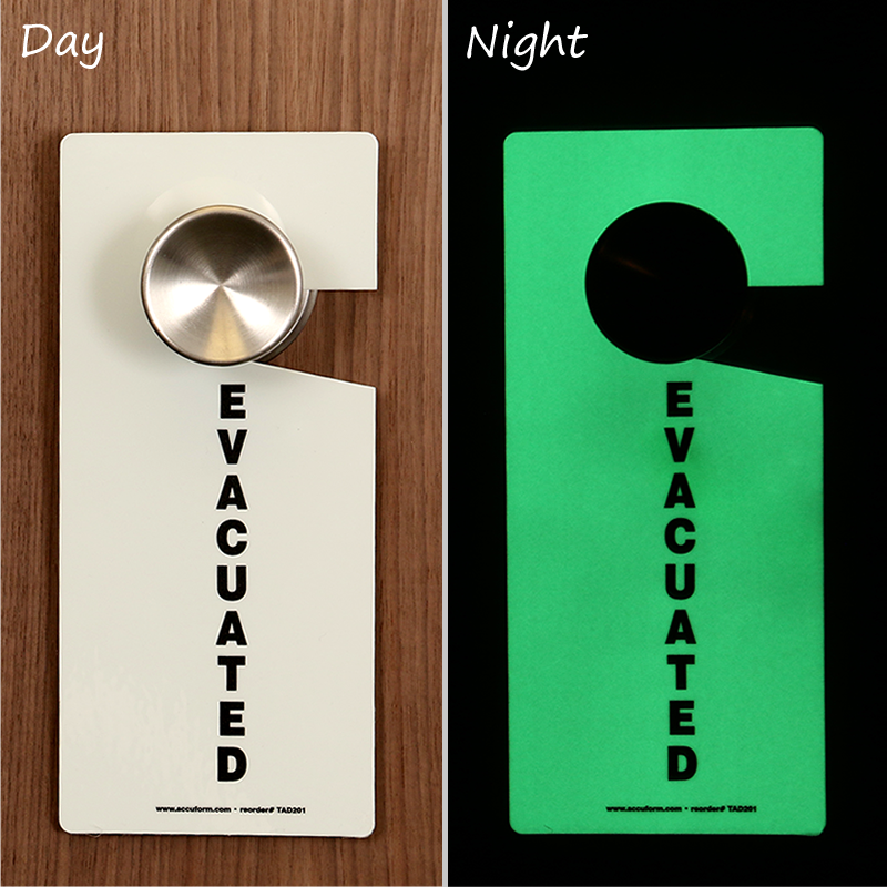 Glow In The Dark Evacuated Plastic Door Knob Hang Tag Sku