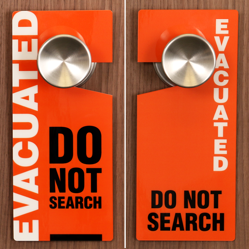 ... Evacuated Two Sided Door Hang Tag