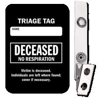 Deceased No Respiration Triage Tag