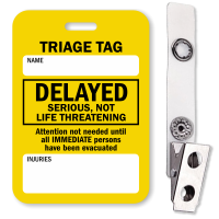 Delayed Serious, Not Life Threatening Triage Tag