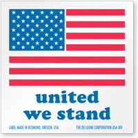 United We Stand Flag Label