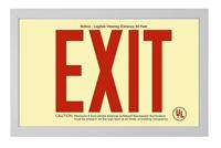 Red EXIT sign in Brushed Aluminum Frame