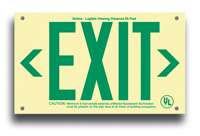 Double-Sided unframed EXIT Sign, EXIT in green