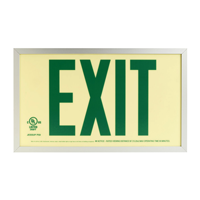 Reflective Photoluminescent Framed Green Exit Sign