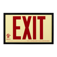 Photoluminescent  Framed Red Acrylic Exit Sign
