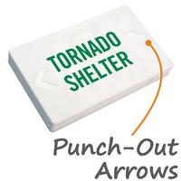 Tornado Shelter LED Exit Sign with Battery Backup