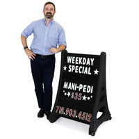 Quick-Load A-Frame Sidewalk Sign - Black