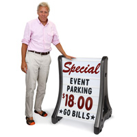 Deluxe A-Frame Message Board Sidewalk Sign - White