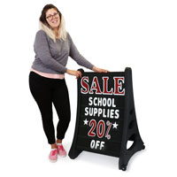 Deluxe A-Frame Message Board Sidewalk Sign - Black