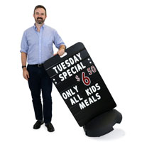 Tip 'n Roll® Message Board Sidewalk Sign - Black Delux
