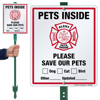 Alert Pets Inside Please Save Our Pets LawnBoss Sign