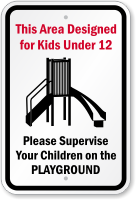 Area Designated For Kids Under 12 Sign