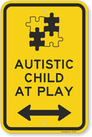 Autistic Child At Play with Bi-Directional Arrow Sign