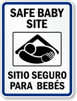 Bilingual Safe Baby Site Sign With Graphic
