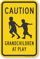 Caution Grandchildren At Play (With Graphic) Sign