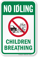Children Breathing No Idling Sign