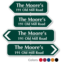 Custom Arrow Sign with Name and House Address