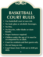 Customizable Basketball Court Rules Sign