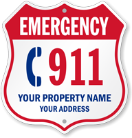 Custom Emergency 911 Phone Shield Sign