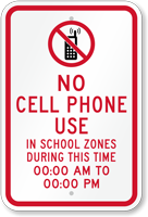 Custom No Cell Phone During School Time Sign