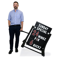 Black Rolling Swinger Sidewalk Sign in Black