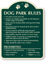 Dog Park Rules Signature Sign