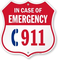 Emergency 911 Phone Shield Sign