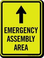 Emergency Assembly Area Ahead Arrow Sign