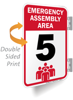 Emergency Assembly Area Number Five Sign
