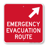 Emergency Evacuation Route Upper Right Arrow Sign