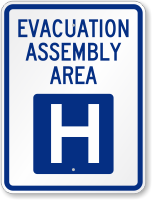Emergency Evacuation Assembly Area H Sign