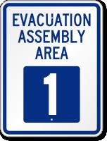 Evacuation Assembly Area 1 Emergency Sign