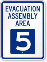 Evacuation Assembly Area 5 Emergency Sign