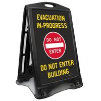 Evacuation In Progress Sidewalk Sign