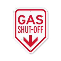 Gas Shut-Off With Down Arrow Sign