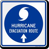 Hurricane Evacuation Route Ahead Arrow Sign