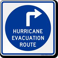 Hurricane Evacuation Route Upper Right Arrow Sign