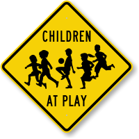 Children Playing with Ball Sign