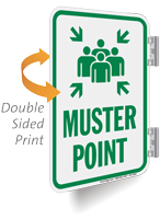 Muster Point Double Sided Metal Sign