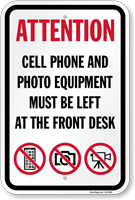 No Cell Phone And Photo Equipment Sign