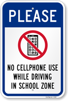 No Cellphone Use While Driving In School Sign