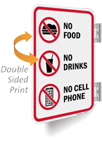No Food Drinks Cell Phone Double Sided Sign