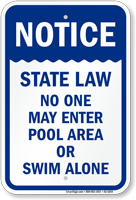 Notice State Law Pool Safety Sign